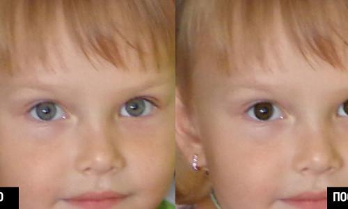 Замена цвета глаз на фото